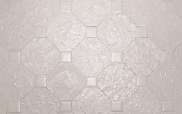 華麗なるトイレ/イチョウの型押しを施した床のタイル:森野彰人/館・游彩