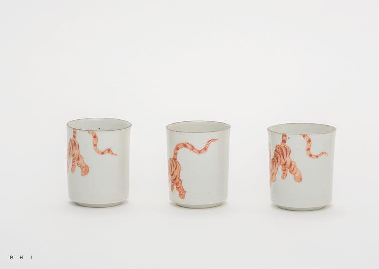 浜野マユミ「色絵虎紋 筒型ぐい呑」