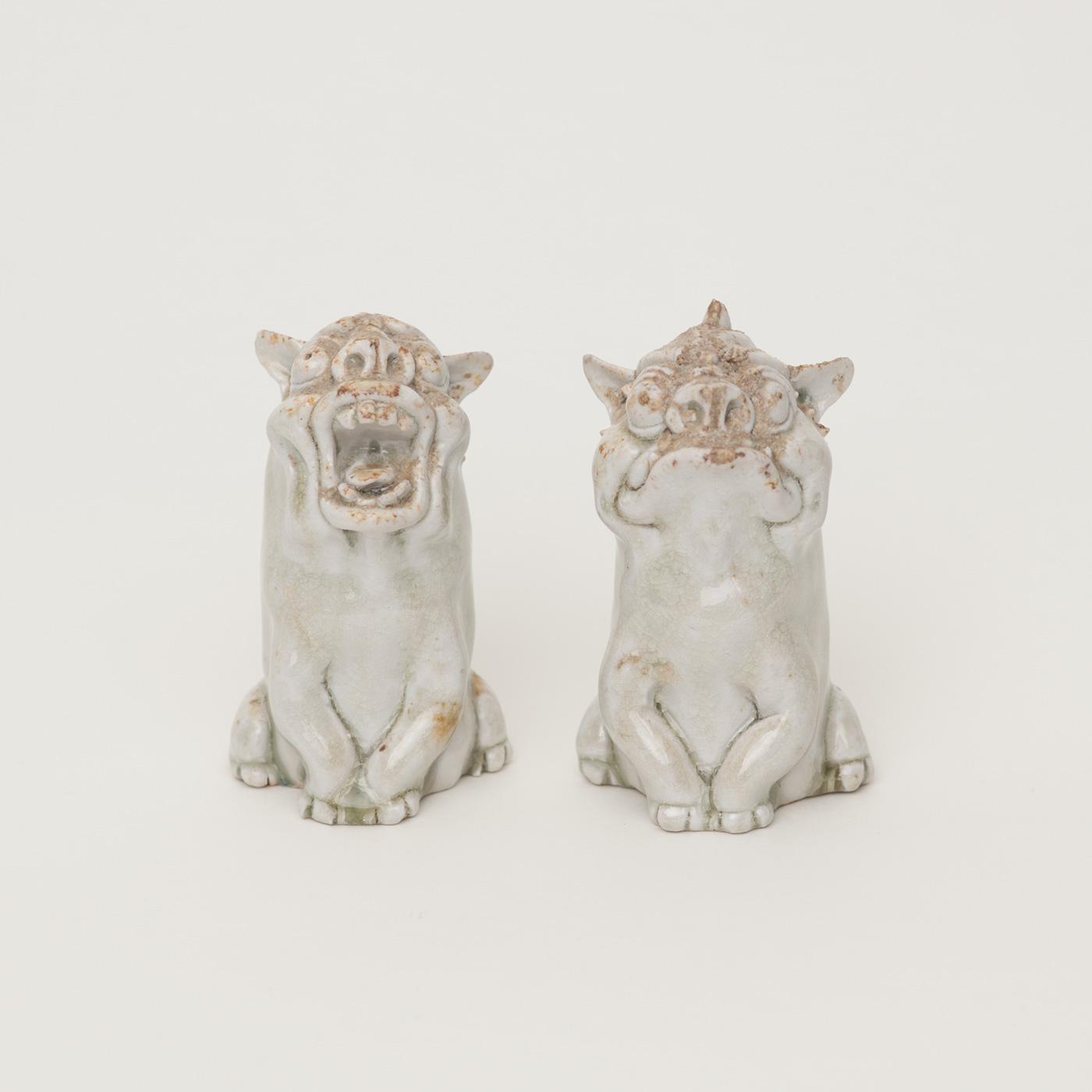 光藤佐:白磁 獅子狛犬