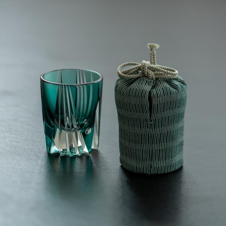 酒盃 寸胴 玉・底菊つなぎ(青緑) × 江戸小紋仕覆「変わり縞」