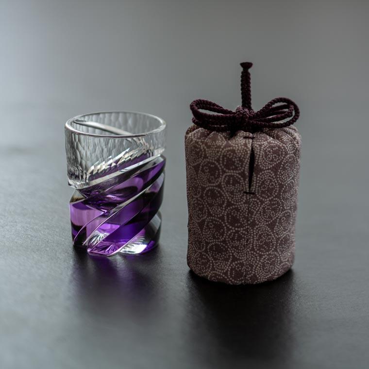 酒盃 寸胴 カーブレンズ(金紫) × 江戸小紋仕覆「どくろ」