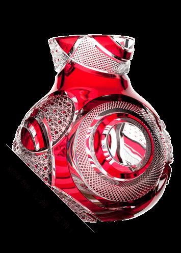 小川郁子:被硝子切子花瓶「紅玉」