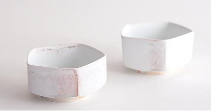 田淵太郎:薪窯白磁 面取小鉢